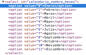 Options de los meses en el calendario.